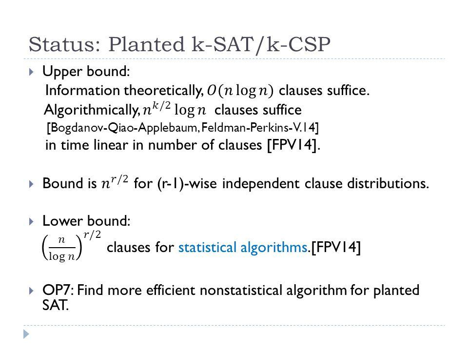Status: Planted k-SAT/k-CSP