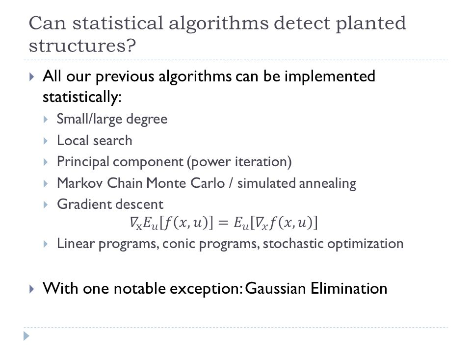 Can statistical algorithms detect planted structures?