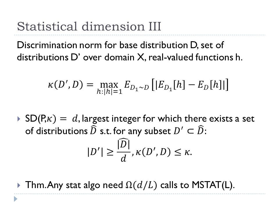 Statistical dimension III