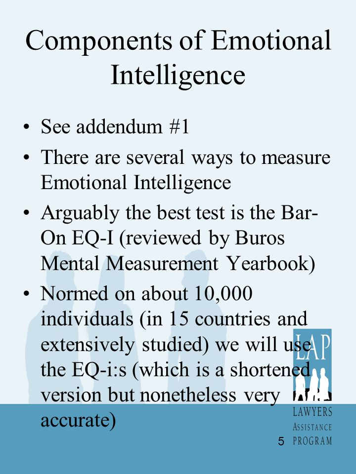 Components of Emotional Intelligence See addendum #1 There are several ways to measure Emotional Intelligence Arguably the best test is the Bar- On EQ-I (reviewed by Buros Mental Measurement Yearbook) Normed on about 10,000 individuals (in 15 countries and extensively studied) we will use the EQ-i:s (which is a shortened version but nonetheless very accurate) 5