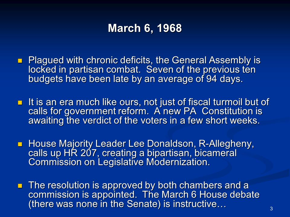 March 6, 1968 Plagued with chronic deficits, the General Assembly is locked in partisan combat.