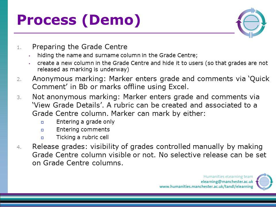 Process (Demo) 1. Preparing the Grade Centre hiding the name and surname column in the Grade Centre; create a new column in the Grade Centre and hide