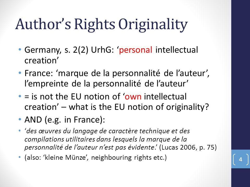 Author's Rights Originality Germany, s.