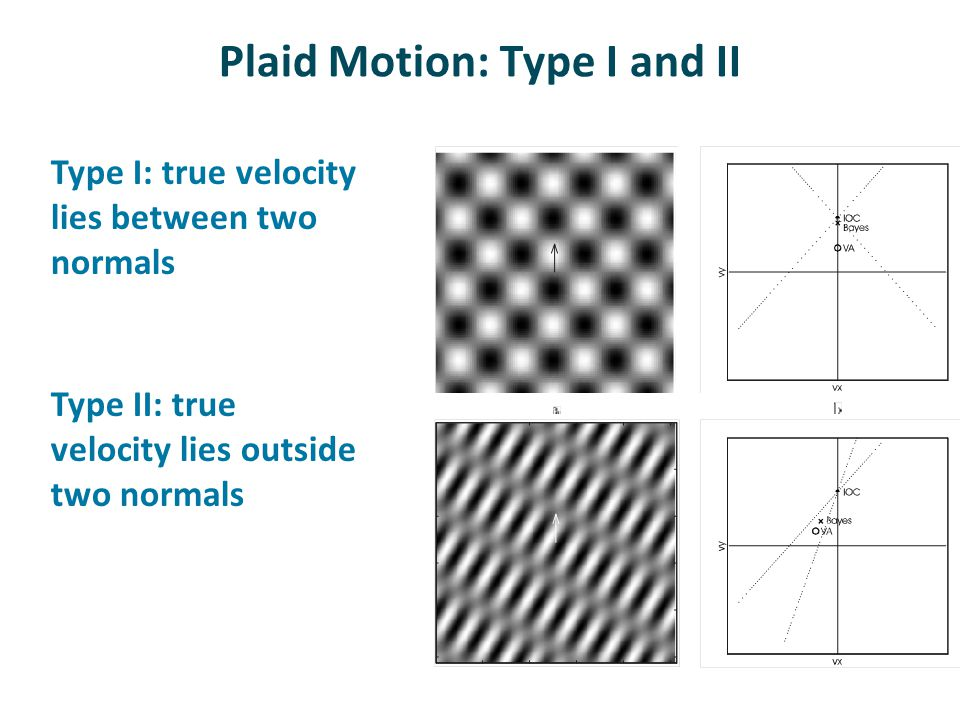 Plaid Motion: Type I and II Type I: true velocity lies between two normals Type II: true velocity lies outside two normals