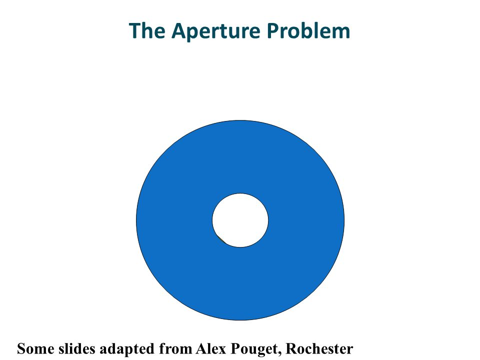 The Aperture Problem Some slides adapted from Alex Pouget, Rochester