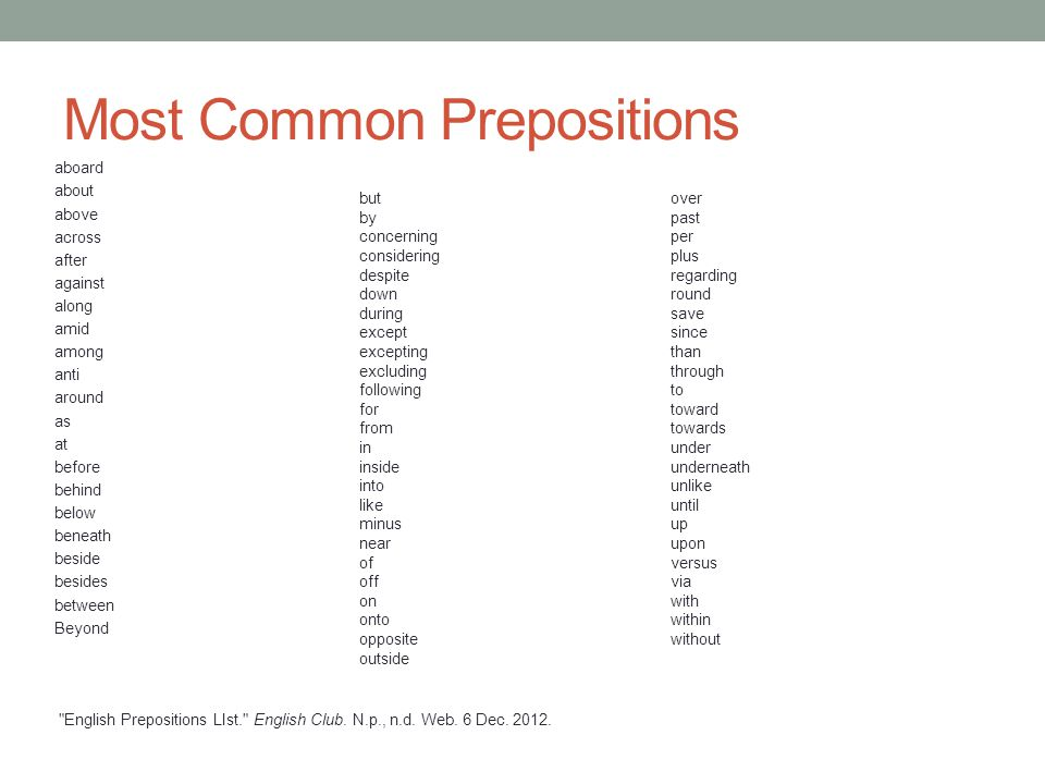 Most Common Prepositions aboard about above across after against along amid among anti around as at before behind below beneath beside besides between Beyond English Prepositions LIst. English Club.