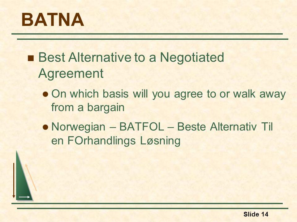 Slide 14 BATNA Best Alternative to a Negotiated Agreement On which basis will you agree to or walk away from a bargain Norwegian – BATFOL – Beste Alternativ Til en FOrhandlings Løsning