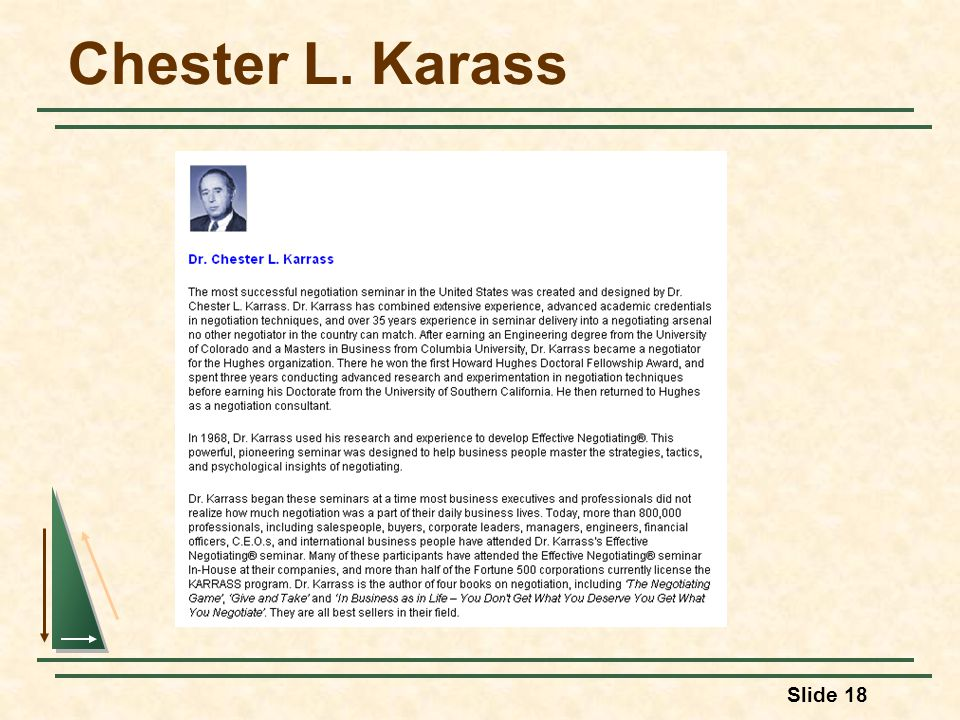 Slide 18 Chester L. Karass
