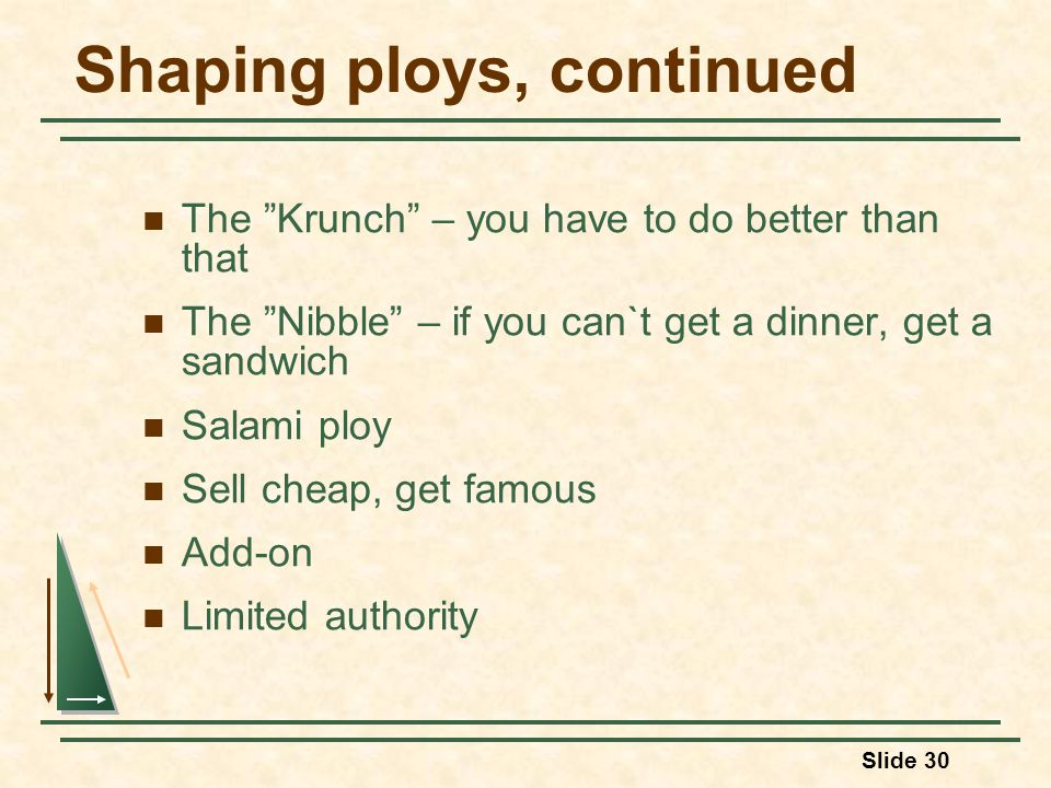 Slide 30 Shaping ploys, continued The Krunch – you have to do better than that The Nibble – if you can`t get a dinner, get a sandwich Salami ploy Sell cheap, get famous Add-on Limited authority