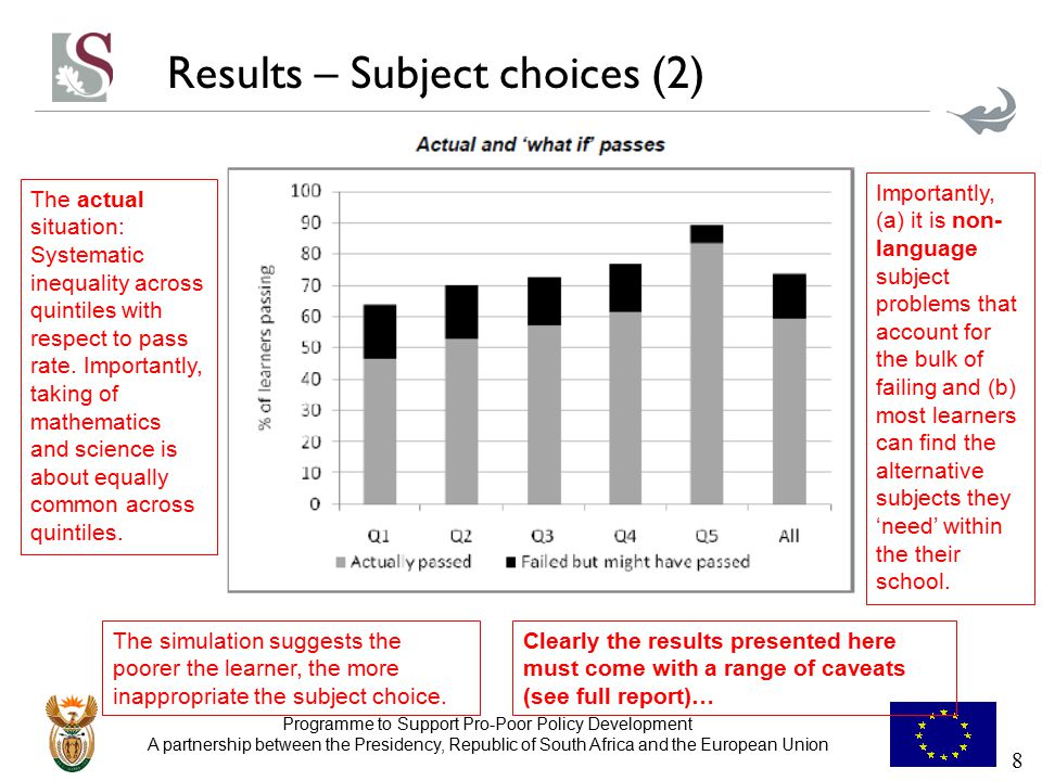 Programme to Support Pro-Poor Policy Development A partnership between the Presidency, Republic of South Africa and the European Union Results – Subject choices (3) Switches indicated above (in percentages) account for 81% of feasible and beneficial switches.