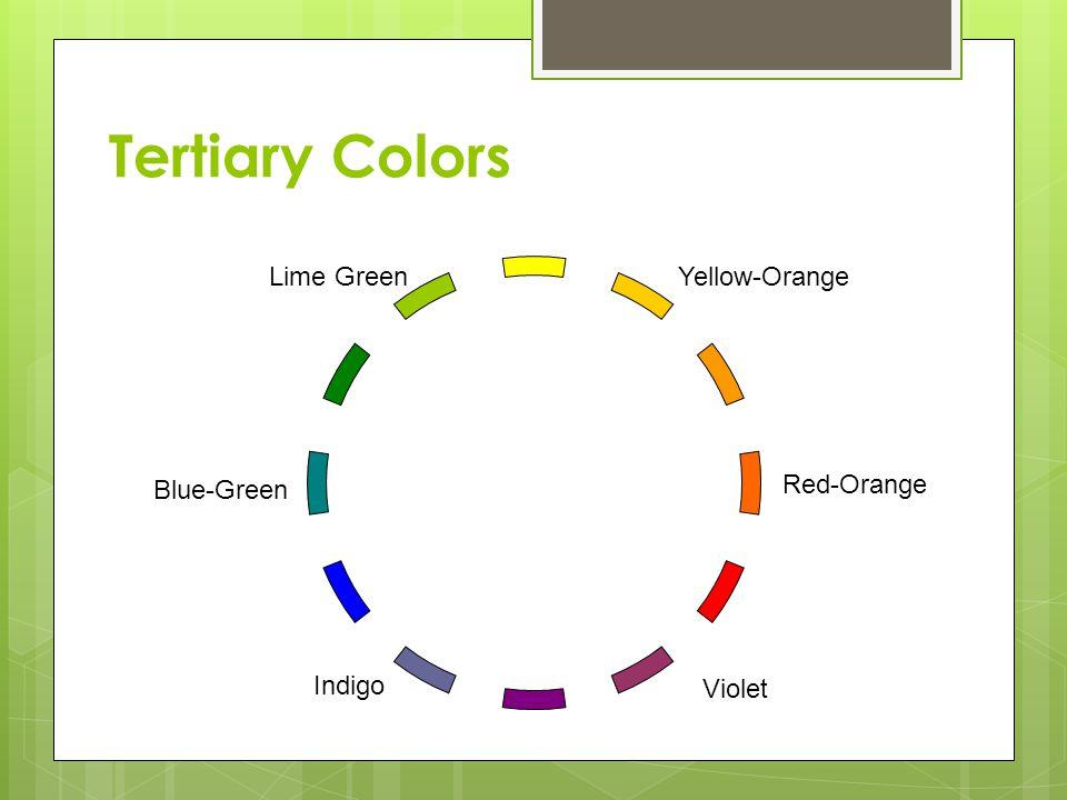 Tertiary Colors Yellow-Orange Red-Orange Violet Indigo Blue-Green Lime Green