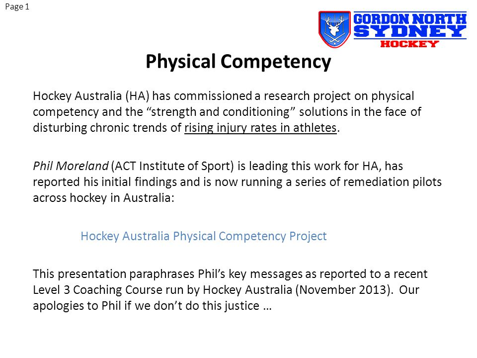 Hockey is a physically demanding activity, arguably the most demanding on fitness amongst typical team sports.