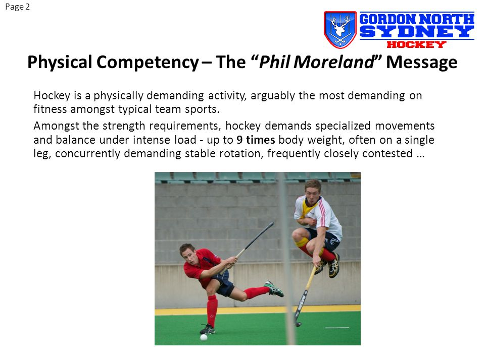 Recent physical competency testing of Australian hockey's elite athletes demonstrates systemic patterns of strength inadequacies in basic movements.