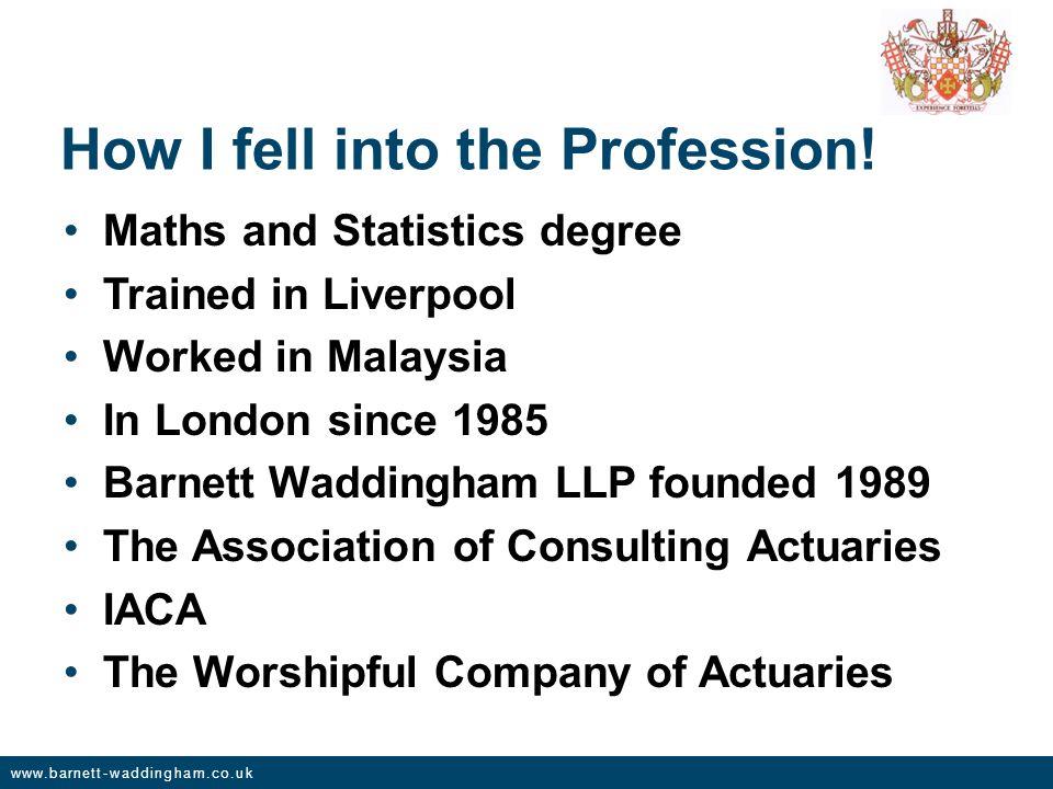 www.barnett-waddingham.co.uk How I fell into the Profession.