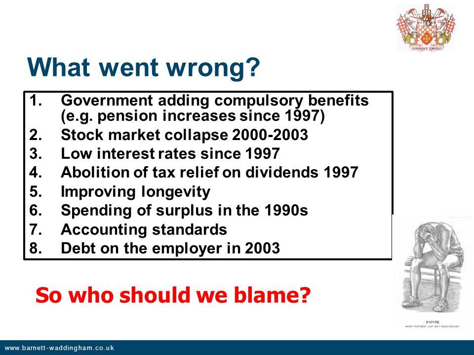www.barnett-waddingham.co.uk What went wrong. 1.Government adding compulsory benefits (e.g.