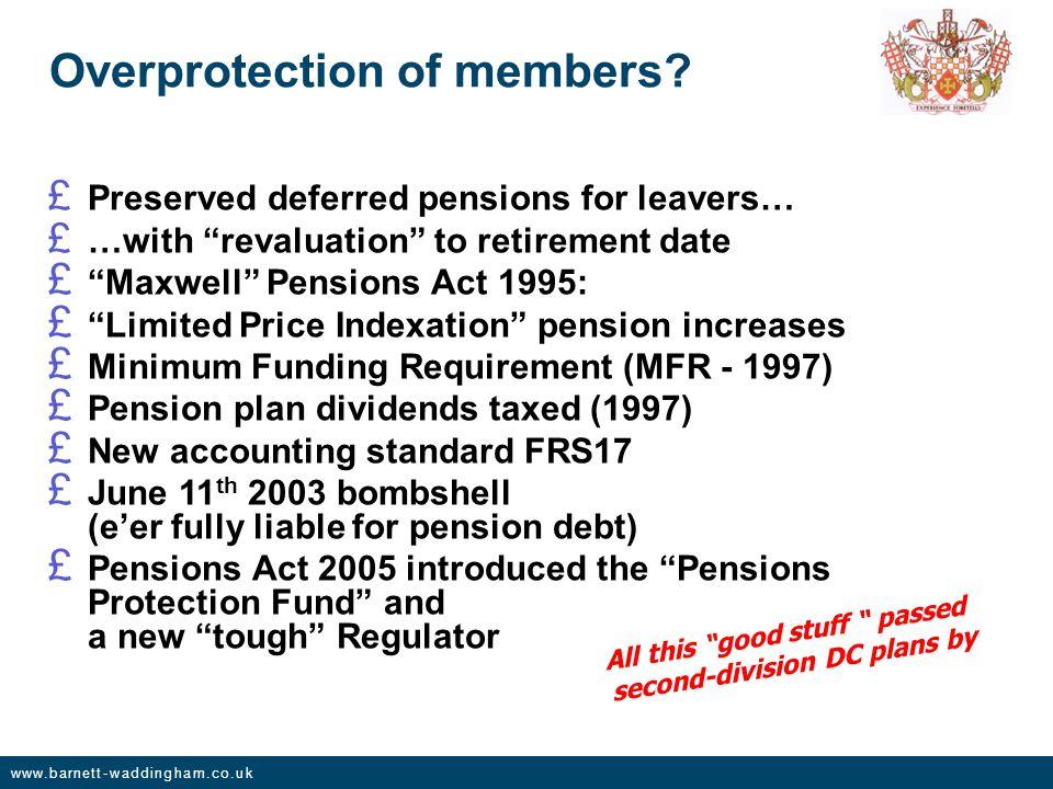 www.barnett-waddingham.co.uk Overprotection of members.