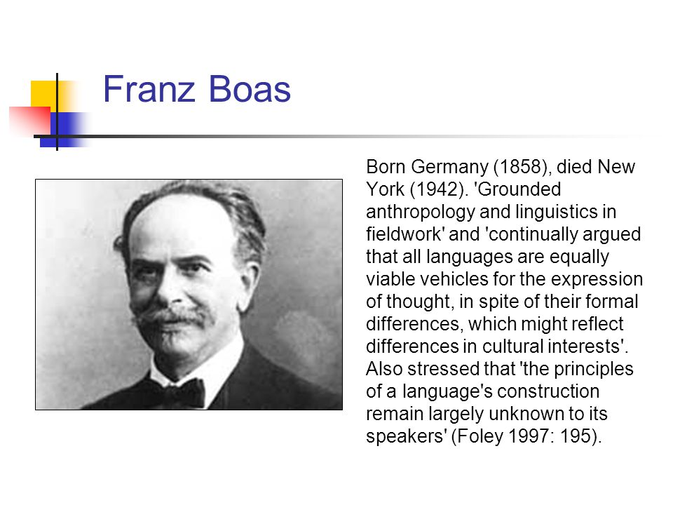 Franz Boas Born Germany (1858), died New York (1942). 'Grounded anthropology and linguistics in fieldwork' and 'continually argued that all languages