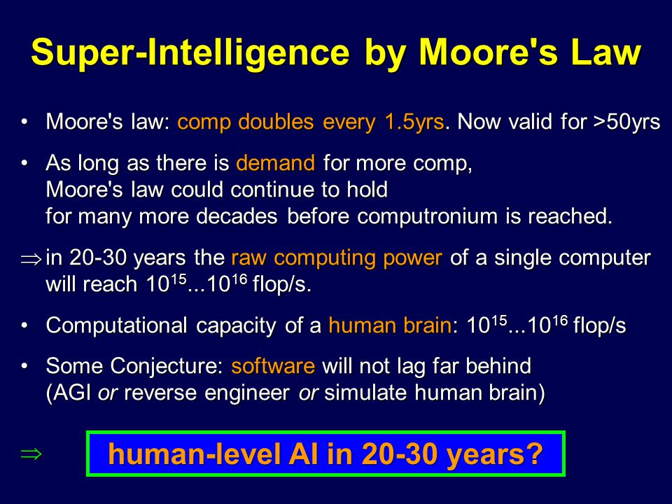 Super-Intelligence by Moore's Law Moore's law: comp doubles every 1.5yrs. Now valid for >50yrsMoore's law: comp doubles every 1.5yrs. Now valid for >5