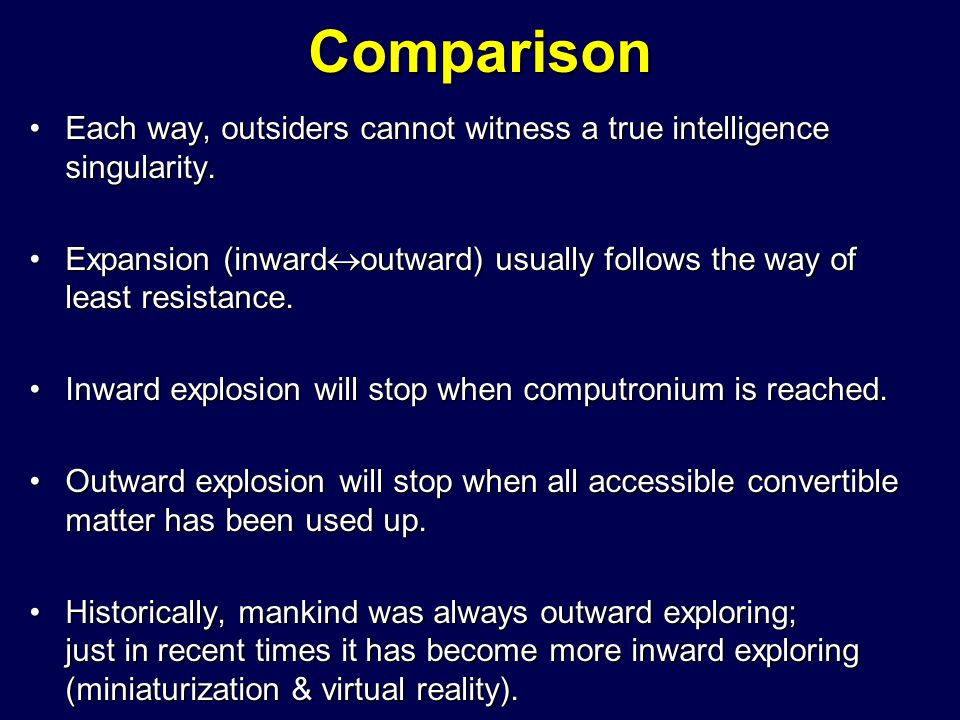Comparison Each way, outsiders cannot witness a true intelligence singularity.Each way, outsiders cannot witness a true intelligence singularity. Expa