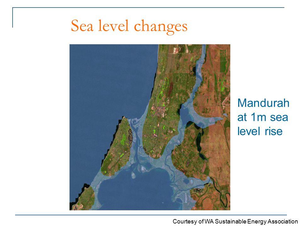 Sea level changes Mandurah at 1m sea level rise Courtesy of WA Sustainable Energy Association