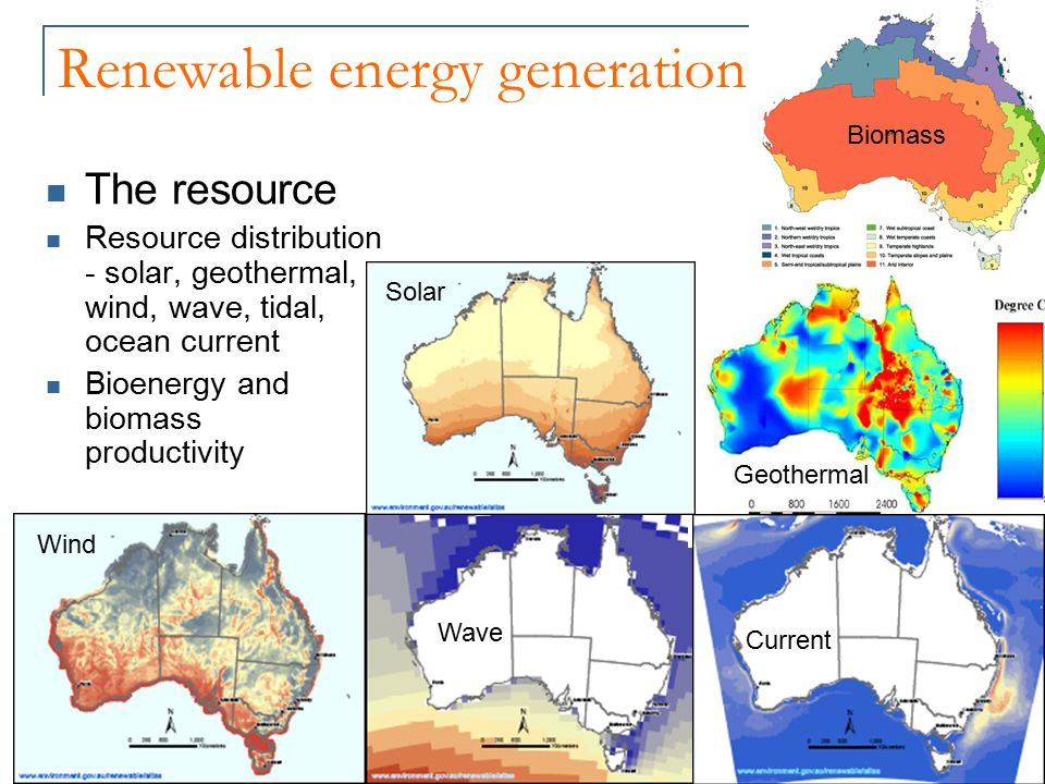 Renewable energy generation The resource Resource distribution - solar, geothermal, wind, wave, tidal, ocean current Bioenergy and biomass productivity Biomass Wind Wave Solar Current Geothermal