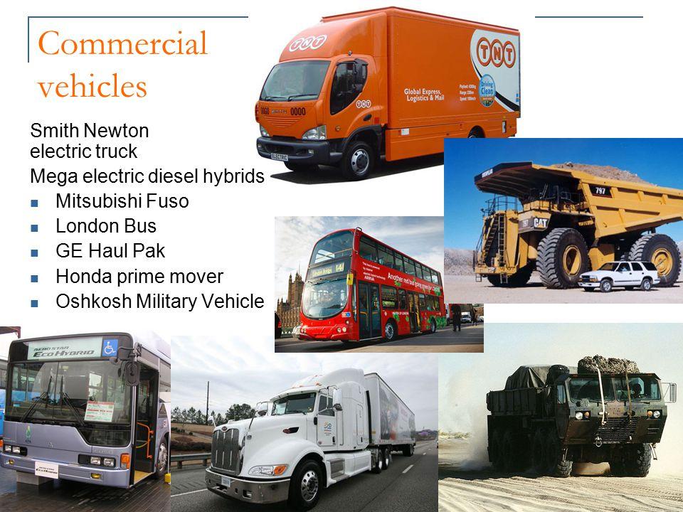 Commercial vehicles Smith Newton electric truck Mega electric diesel hybrids Mitsubishi Fuso London Bus GE Haul Pak Honda prime mover Oshkosh Military Vehicle
