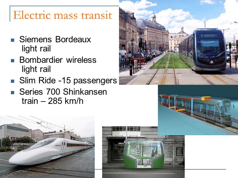 Electric mass transit Siemens Bordeaux light rail Bombardier wireless light rail Slim Ride -15 passengers Series 700 Shinkansen train – 285 km/h