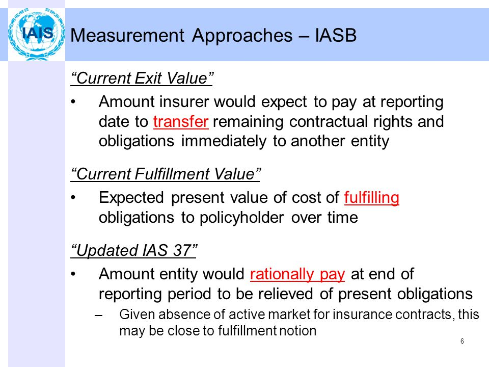 6 Measurement Approaches – IASB Current Exit Value Amount insurer would expect to pay at reporting date to transfer remaining contractual rights and obligations immediately to another entity Current Fulfillment Value Expected present value of cost of fulfilling obligations to policyholder over time Updated IAS 37 Amount entity would rationally pay at end of reporting period to be relieved of present obligations –Given absence of active market for insurance contracts, this may be close to fulfillment notion