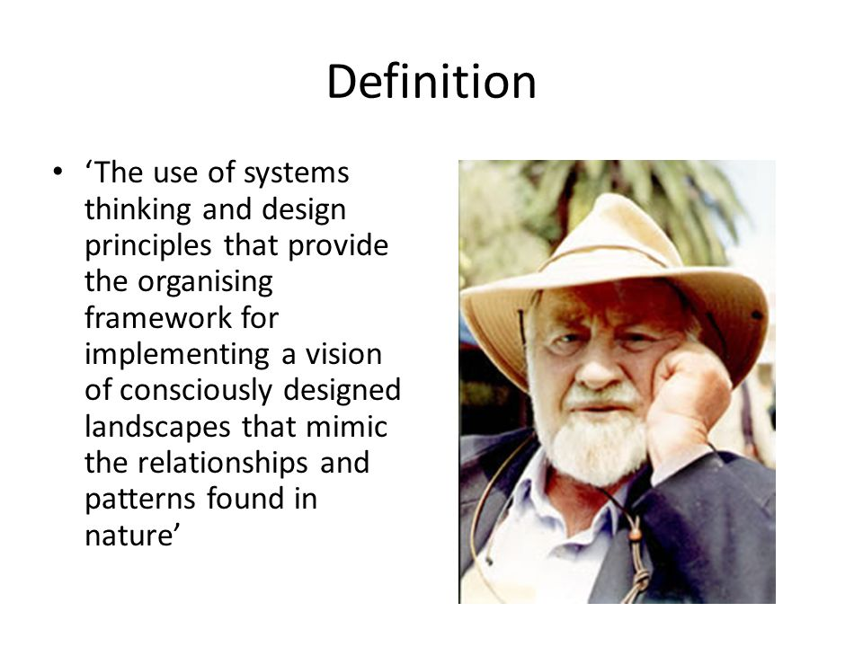 Definition 'The use of systems thinking and design principles that provide the organising framework for implementing a vision of consciously designed landscapes that mimic the relationships and patterns found in nature'