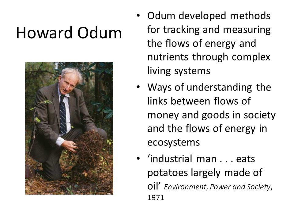 Howard Odum Odum developed methods for tracking and measuring the flows of energy and nutrients through complex living systems Ways of understanding the links between flows of money and goods in society and the flows of energy in ecosystems 'industrial man...