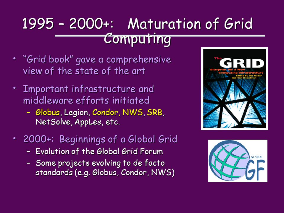 """1995 – 2000+: Maturation of Grid Computing """"Grid book"""" gave a comprehensive view of the state of the art """"Grid book"""" gave a comprehensive view of the"""