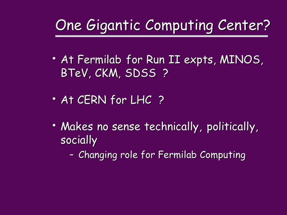 One Gigantic Computing Center? At Fermilab for Run II expts, MINOS, BTeV, CKM, SDSS ? At Fermilab for Run II expts, MINOS, BTeV, CKM, SDSS ? At CERN f