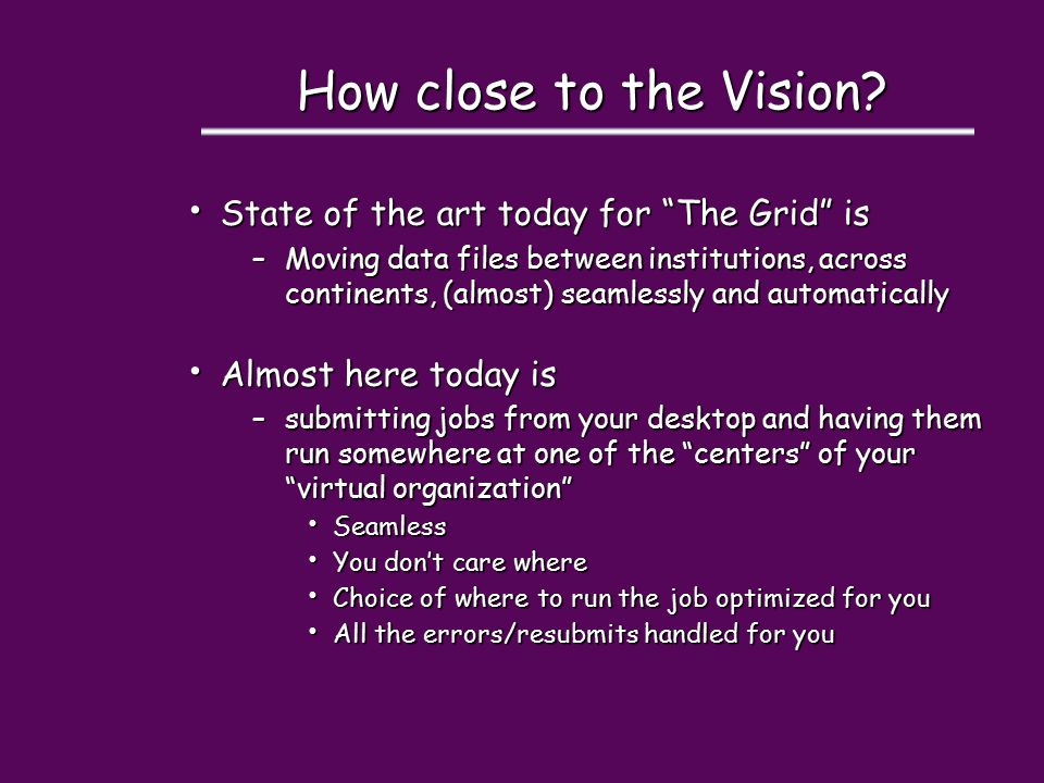 How close to the Vision.