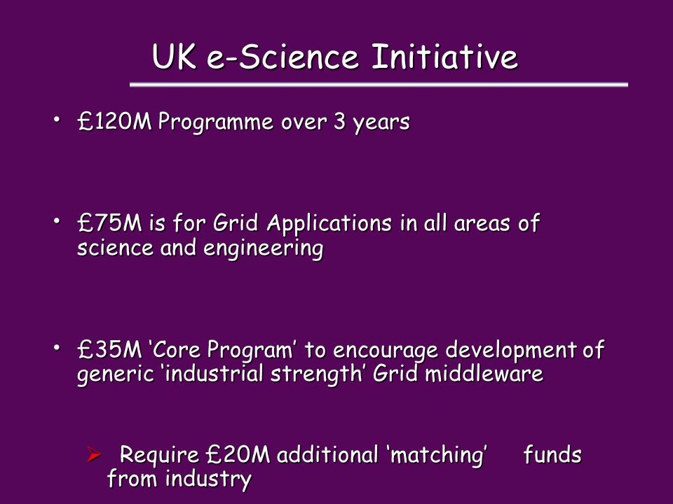 UK e-Science Initiative £120M Programme over 3 years £120M Programme over 3 years £75M is for Grid Applications in all areas of science and engineerin