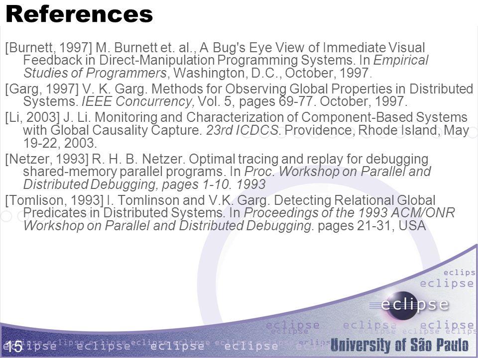 15 References [Burnett, 1997] M.Burnett et.