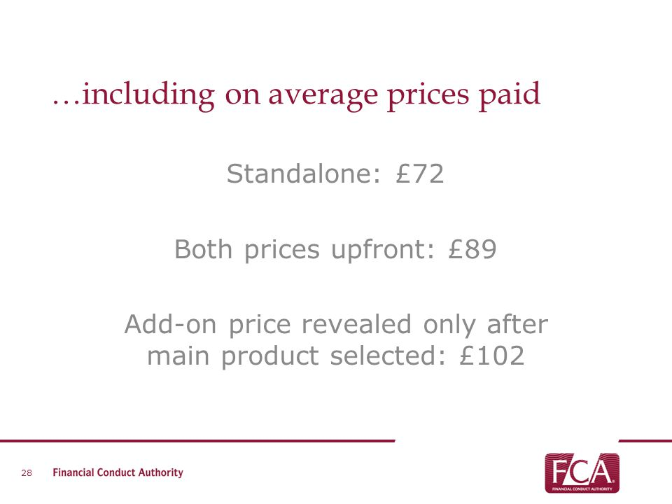 …including on average prices paid Standalone: £72 Both prices upfront: £89 Add-on price revealed only after main product selected: £102 28