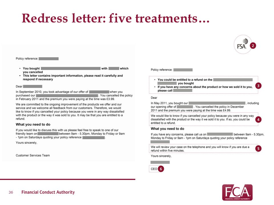 Redress letter: five treatments… 36