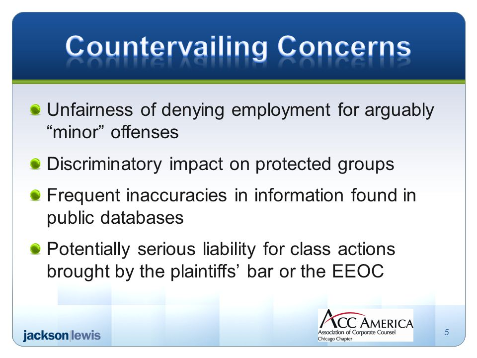 Unfairness of denying employment for arguably minor offenses Discriminatory impact on protected groups Frequent inaccuracies in information found in public databases Potentially serious liability for class actions brought by the plaintiffs' bar or the EEOC 5