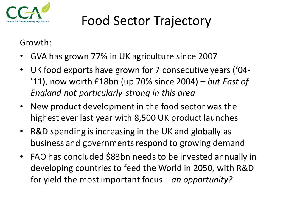 Food Sector Trajectory Growth: GVA has grown 77% in UK agriculture since 2007 UK food exports have grown for 7 consecutive years ('04- '11), now worth