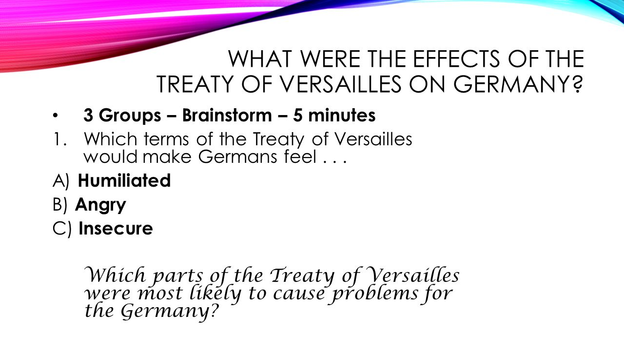 IMPACT OF PEACE TREATIES Overview: Impact of treaties of central, eastern, & S.