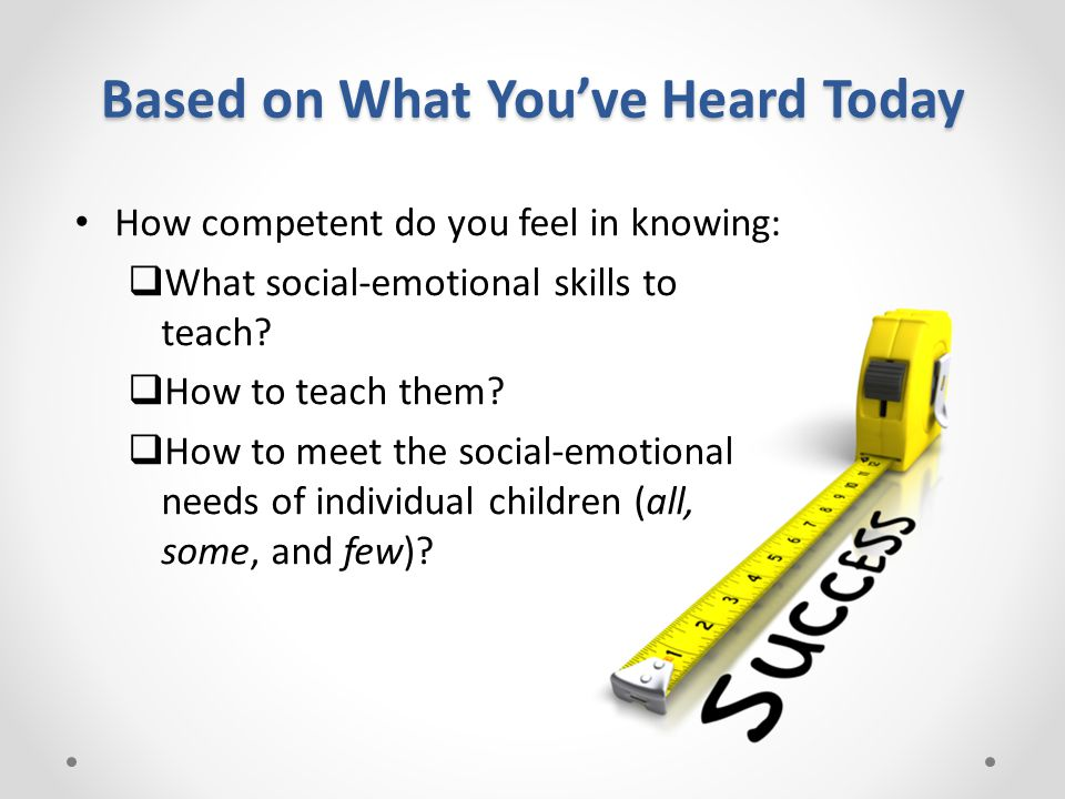 Based on What You've Heard Today How competent do you feel in knowing:  What social-emotional skills to teach.