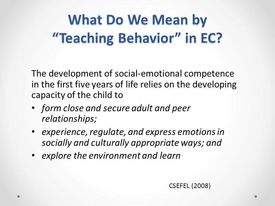 Additional Resources CSEFEL Inventory of Practices for Promoting Children's Social Emotional Competence http://www.challengingbehavior.org/communities/coaches_docs/inventory_ of_practices.pdf Resources Related to PBIS: Selected Titles from TASN-KITS (handout) CSEFEL/TACSEI Routine Based Support Guideshttp://www.challengingbehavior.org/communities/teachers.htmhttp://www.challengingbehavior.org/communities/teachers.htm TACSEI Recommended Practice Handouts http://www.challengingbehavior.org/do/resources/tacsei_resources_all.htm TACSEI Roadmaps to Effective Intervention Practices (2009) o Evidence Based Social Emotional Curricula and Intervention Packages for Children 0-5 Years and Their Families.