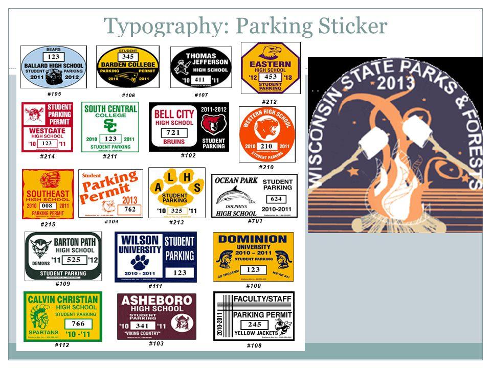 Typography: Parking Sticker
