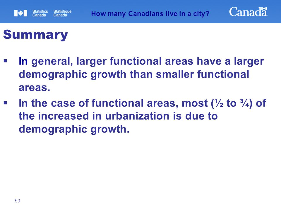 59  In general, larger functional areas have a larger demographic growth than smaller functional areas.  In the case of functional areas, most (½ to