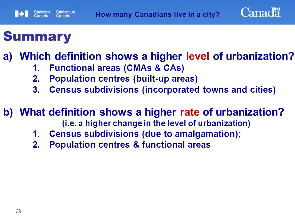 69 How many Canadians live in a city? Summary a)Which definition shows a higher level of urbanization? 1.Functional areas (CMAs & CAs) 2.Population ce