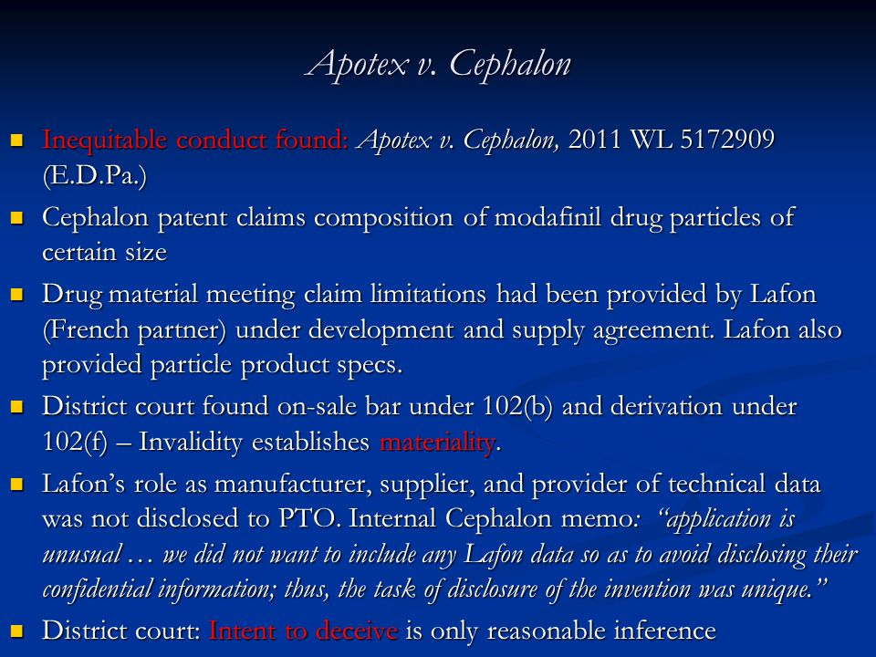 Apotex v.Cephalon Inequitable conduct found: Apotex v.