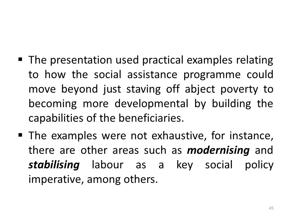  The presentation used practical examples relating to how the social assistance programme could move beyond just staving off abject poverty to becomi