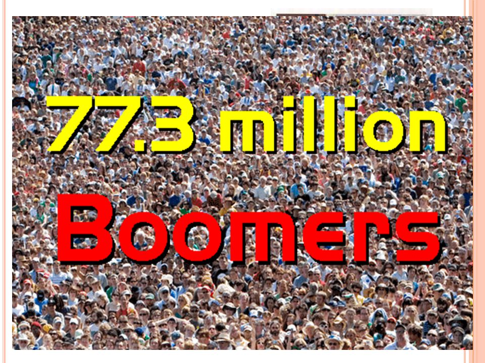 B ABY B OOMERS 1 Born: 1946-1954 Age in 2012: 58-66 Current Population: 33 million For a long time the Baby Boomers were defined as those born between