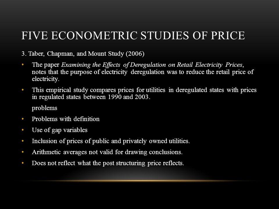 FIVE ECONOMETRIC STUDIES OF PRICE 3.