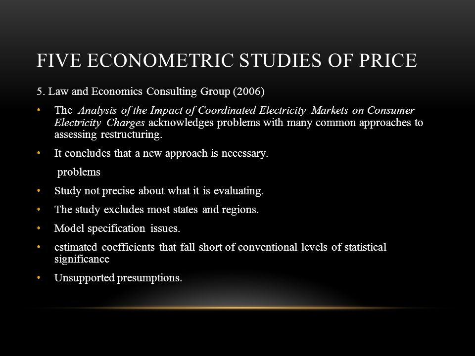 FIVE ECONOMETRIC STUDIES OF PRICE 5.